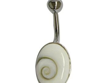 Shivaauge Piercing oval 10x14mm Bauchnabel Bananen-Piercing aus 925er Sterlingsilber Muschel Nabel Nabelpiercing Schmuck (SHP-01)