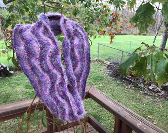 Hand-knit Wool Cowl -- Feather and Fan Pattern