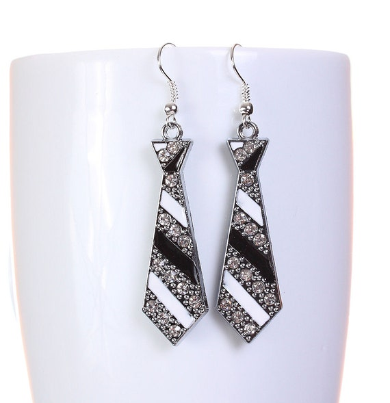Sale Clearance 20% OFF - Silver tone rhinestone enamel black tie drop dangle earrings (584)