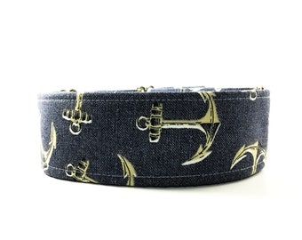 Denim Anchors Dog Collar - Buckle or Martingale