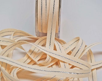 Metallic Canvas Ribbon -- 3 / 8 inches -- Silver Natural/Cream 2 yds
