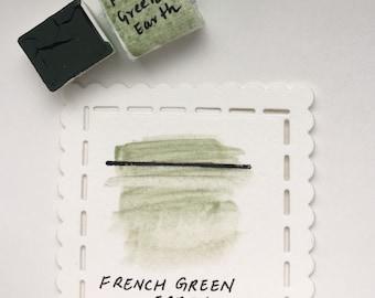French Green Earth- Handmade watercolor