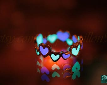Hearts Ring / GLOW in the DARK / Silver Hearts ring / Glow two colors / Purple & Turquoise /