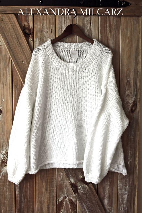 Sweater Oversized White Big Sweater Chunky Sweater Big Warm Oversized Knit Oversized Sweater White Sweater Jumper Jumper Loose Big IqIRrdw