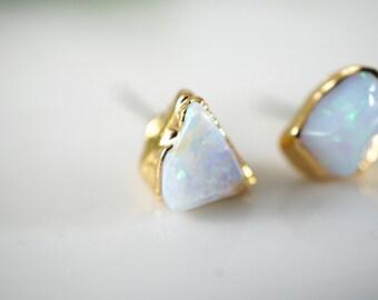 Raw Opal Earrings • Opal Earrings • Opal Stud Earrings • Gift for Wife • Gold Earrings • Raw Stone Earrings • October Birthstone