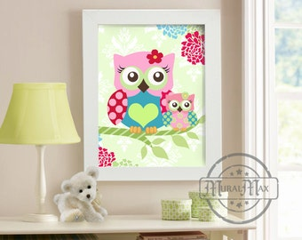 Nursery Art Owl Print Wall Art ,Girls Owl Nursery Art  Woodland Animals print