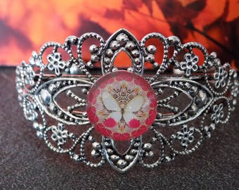Lace Butterfly cabochon Cuff Bracelet