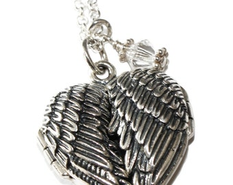 Personalized Engraved Guardian Angel Wings Photo Locket Pendant with birthstone Necklace
