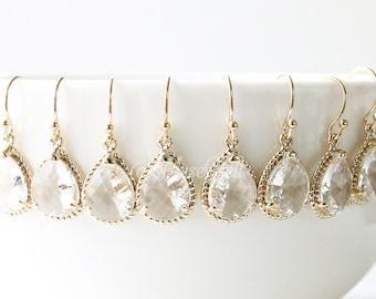 10% OFF, Bridesmaid gifts, Set of 7,8,9,10 Gold clear earrings, Wedding earrings, Dangle earrings, Bridal earrings, Wedding gift earrings