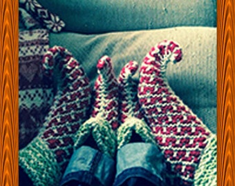 Childrens Hand Knitted Elf Slippers shoes