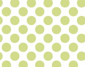"""BTHY - Follow Me Jams and Jellies by Dana Brooks for Henry Glass, Pattern #6180-6, green 1/2"""" Polka Dots on White Background, By the Half Yd"""