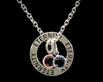 Birthstone Necklace, Gift For Her, Eternity Personalized Birthstone, Mother Couples Gift For Mom Necklace