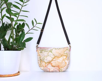 Crossbody bag, map purse, travelling bag, waxed canvas crossbodybag map and trip