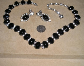 Elegant Bogoff  Necklace Earrings Vintage With Black Glass Cabochons & Rhinestones Screw Backs 1940's Signed Jewelry 2145