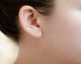 Bar Ear Climbers, Long Bar Line Earring, Sterling Silver Wire Ear Climber, Modern Minimal Lunaijewelry, Handmade, Gift for Her, ECF002
