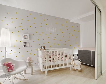 Gold Wall Decals Polka Dots Wall Decor nursery decor Dot Wall Decals Set of up to 100 more colours - wall sticker - home decor - wall decor