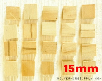 20 15mm 17mm Rectangular Wood Blank Raw Unfinished Maple Tiles Pendant Natural Jewelry Supplies