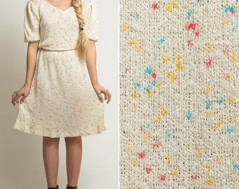 80s dress- Vintage dress- Knit dress- SWEATER dress- Speckled dress- Party dress- Dolly dress- Knee length dress- 1980s dress- EIGHTIES