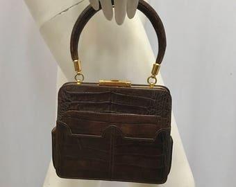 Vintage VALENTINO GARAVANI Alligator Brown Small Handbag Great Handle