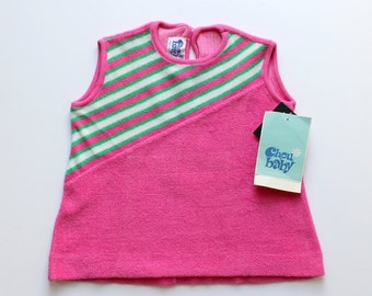 FRENCH VINTAGE 60/70's / kids / summer top / tunic / pink terrycloth + stripes / new old stock / size 2 years