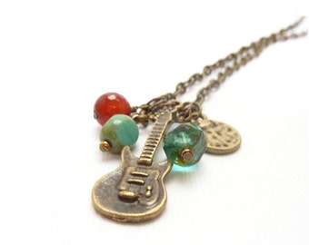 Electric Guitar Charm Necklace - Music - Instrument Charm - Carnelian Turquoise - Bohemian Necklace