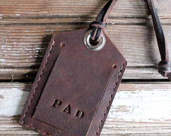 Handcrafted oil tanned leather luggage tag