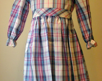 Girls Holiday Dress in White, Pink, Purple and Yellow Plaid  - Size 4