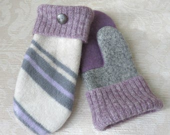 SALE - Repurposed Sweater Wool Mittens in Lavender, Gray and Cream, Eco-Friendly Felted Wool Mittens, Adult Size