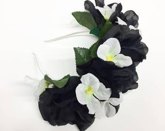 Black Rose and White Hydrangea Flower Crown Headband