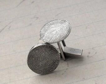 Custom Fingerprint Cufflinks in Fine and Sterling Silver