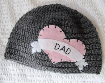 Tattoo I Heart Dad Hat with Felt Appliqué - Valentines Day - Girl Newborn/Baby Hat sizes Baby to Teen