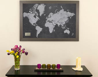 """Personalized Stormy Dreams World Travel Map with Pins and Frame- Push Pin Travel Map - World Pin Map - Great Gift Idea! - Home Decor-24""""x36"""""""