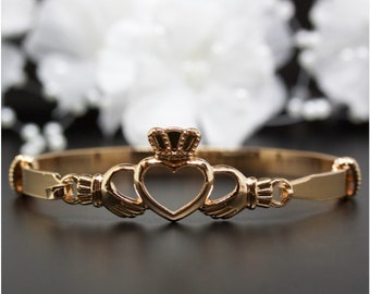 Friendship, Love Claddagh Heart Rose Gold Bangle Bracelet, Rose Gold-Tone Bangle Bracelet, Thank You Gift, Birthday Gift | #RG002