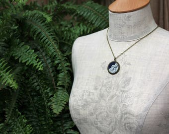 Navy Blue Pendant, Unique Necklace For Women, Gift For Wife, Bridesmaid, Mom, Fabric And Lace Art Nouveau Jewelry