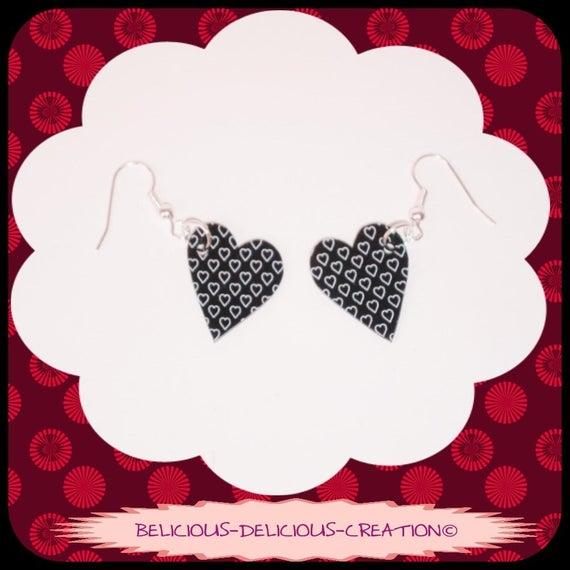 Original earrings! HEART 2 HEART! Plastic black heart motif size 2.2 cm x 2 cm