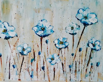 Blue poppies, field of flowers, acrylic, painting, original,