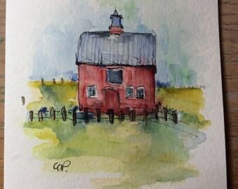 Barn ll Watercolor Card /Hand Painted Watercolor Card