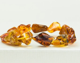 Handmade Baltic Amber Bracelet. Cognac Amber. Natural Irregular Cubes. Natural Amber Jewelry. Perfect Amber Gift Women Amber Bracelet.