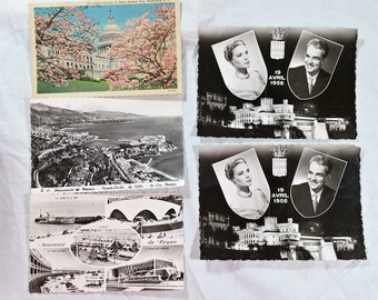 1950s Vintage Postcards Old Grace Kelly Prince Rainier Wedding Avril 19 1956 Paris Monte Carlo Washington DC Collectibles Paper Ephemera