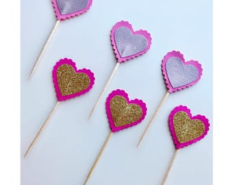 Heart Cupcake Toppers | Heart Shaped Party Decorations | Glitter Hearts | Metallic Hearts| Love Hearts