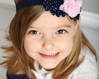 Navy & Pink Baby Headband - Navy Blue with White Polka Dots Light Pink -Toddler Headband - Photo Prop Flower Girl Fall
