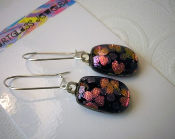 Fused Glass Flower Earrings, .925 Sterling Kidney Earwires, Deep Purple, Pink and Purple Flowers, Handmade Dichroic Earrings, Glass Jewelry