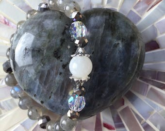 Full Moon, Starry Night - moonstone, labradorite and sparkle glass bead stretch bracelet