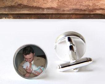 Customized For Dad, Photo Cufflinks, Personalized Keepsake Cufflinks. Father Of The Groom