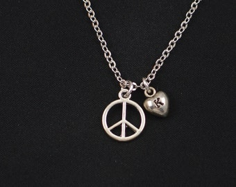 peace sign necklace, sterling silver filled, initial necklace, silver peace sign charm, peace symbol jewelry, peace necklace, gift for her