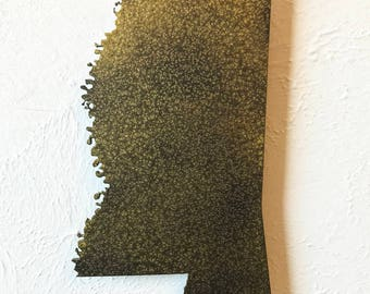 """22"""" tall Mississippi metal map wall art - choose your color - MS map decor - USA state map art - Jackson Gulfport Biloxi Southaven Meridian"""