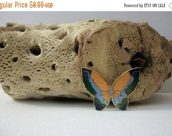ON SALE Vintage Pin Colorful Cloisonne Butterfly 51418