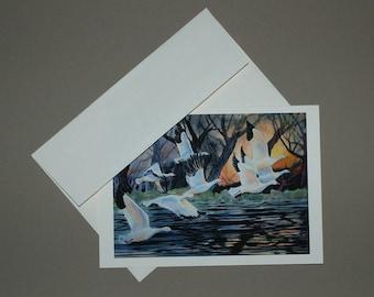 Geese In Flight 5 x 7 Card