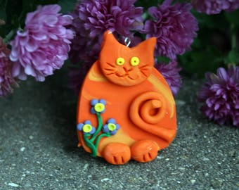Orange Kitty Cat, Polymer Clay Cat Ornament, Polymer Clay Cat Gift Tag