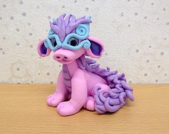 Pink and Purple Oriental Polymer Clay Dragon Sculpture - Mckenzie